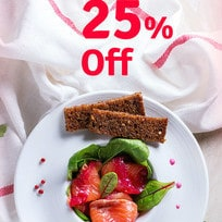 Flat 25% OFF on 168+ Selected Restaurants !