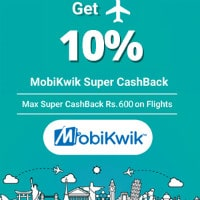 Flat 10% Cashback on MobiKwik Bookings Site-Wide