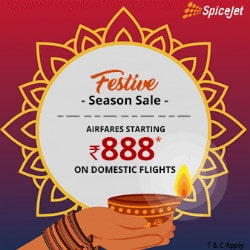 LIMITED : From ₹ 888 on SpiceJet Festive Domestic Bookings