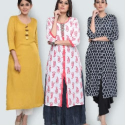 Flat 73% OFF on Pack of 3 Stylish Cotton Kurtas by Aadiya