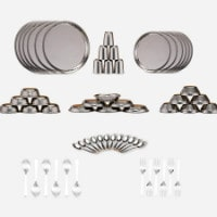 Flat 55% OFF on 60 Pc Hammered Stainless Steel Dinner Set