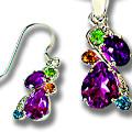 Get 50% off Diamond, Amethyst,Topaz & Peridot Pendant & Earrings Set Orders