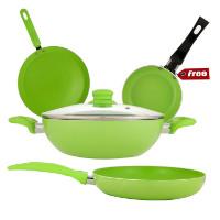 Get 63% off Wonderchef Da Vinci Green Non Stick Cookware Family Set Orders