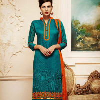 64% OFF on Turquoise Chanderi Cotton Embroidered Designer Dress Material Orders
