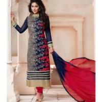 38% OFF on Dhameliya Blue and red Georgette Semi Sttich Embroidery Work Salwarsuit Orders
