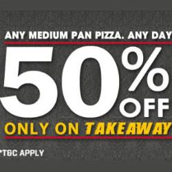Pizza Hut India: Flat 50% OFF on 2 Medium Pizza's Orders